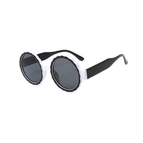 VENMO Mode Herren Retro kleine ovale Sonnenbrille für Damen Metallrahmen Shades Brillen Katzenauge Metall Rand Rahmen Damen Frau Mode Sonnebrille Gespiegelte Linse Women Sunglasses (M-Weiß)