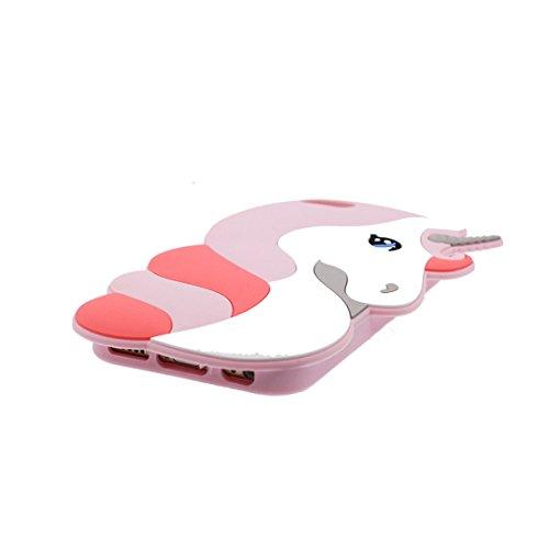 iPhone 7 Plus Custodia, Protezione protettiva TPU Soft Case / Design morbido Copertura per iPhone 7 Plus 5.5 / Cover Cartoon 3D unicorno unicorn Rosa Pink
