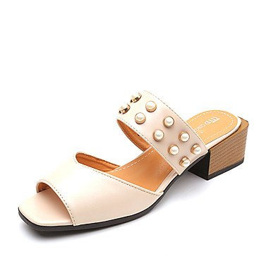 LvYuan Da donna Sandali Comoda PU (Poliuretano) Estate Comoda Piatto Nero Beige Marrone chiaro 7,5 - 9,5 cm light brown