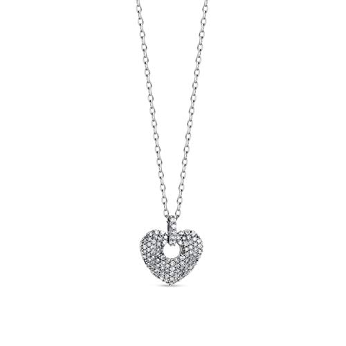 Orovi Collana - Pendente - Ciondolo Donna Cuore con Catena in Oro Bianco con Diamanti Taglio Brillante Ct 0.20 Oro 9 Kt / 375 Catenina Cm 45