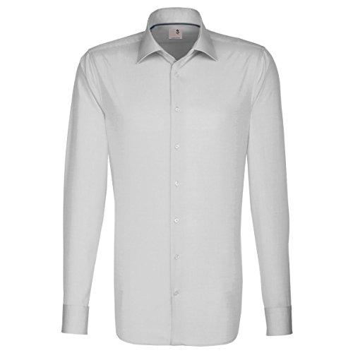Seidensticker Herren Langarm Hemd Schwarze Rose Slim Fit grau mit Piping 246810.33 (Kragenweite: 40 cm, Grau)