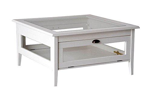 Table basse bois massif fermé laqué blanc avec verre et rabat. Classique et moderne