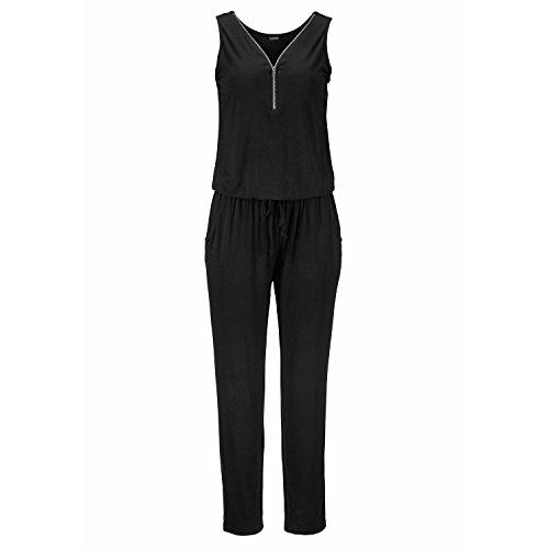 Xxl Jumpsuits (Swallowuk Damen Elegant Ärmellos V-Ausschnitt Strand Party Jumpsuit Overall Lang Hosen (XXL, Schwarz))