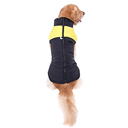 PAWZ Road Pet Clothes For Small Medium and Large Dogs Winter Warm Vest Jacket Easy On/Off Yellow 5L 4