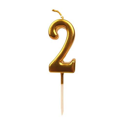 n Kuchenkerzen Goldglitter Happy Birthday Kerzen Cake Topper für Erwachsene Kinder Party Dekoration (Nummer 2) ()