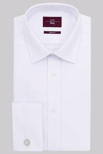 Image of Moss Esq. Men`s Regular Fit White Double Cuff Mini Herringbone Non Iron Shirt 19