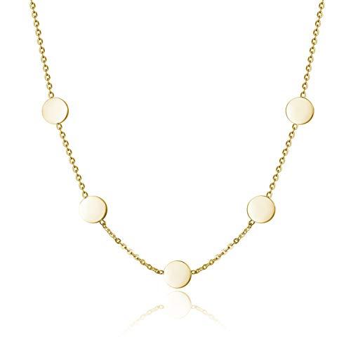 URBANHELDEN - Kette Collier Edelstahl Damen mit runden Plättchen - Halskette Edelstahlkette mit Coin Anhängern - Festival Boho Schmuck - Geometrisches Design fünf Münzen Gold