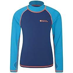 Mountain Warehouse T-Shirt Anti-UV Enfants - Protection UV, Manches Longues, Coutures Plates, séchage Rapide, Tissu Extensible - Idéal pour la Natation Bleu 11-12 Ans