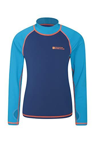 adeshirt für Kinder - Schwimmshirt mit UV-Schutz, Schnelltrocknendes Rash Guard Stretch, Langarmshirt für Kinder, Flache Nähte Blau 116 (5-6 Jahre) ()