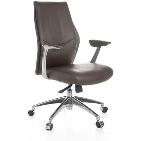 Amstyle Oxford 2 - Silla de escritorio, 5 posiciones, cuero auténtico, color marrón