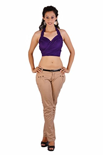 Jaipur Kala Kendra Women's Rayon Beachwear Halter Tank Top Casual Wear Top Medium Purple