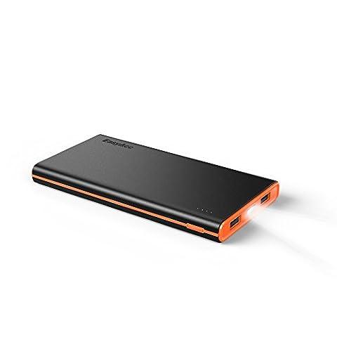 EasyAcc Coloré Brillant 10000mAh Power Bank Batterie Externe Pour iPhone, Samsung, HTC, Smartphone et Tablette Noir/Orange