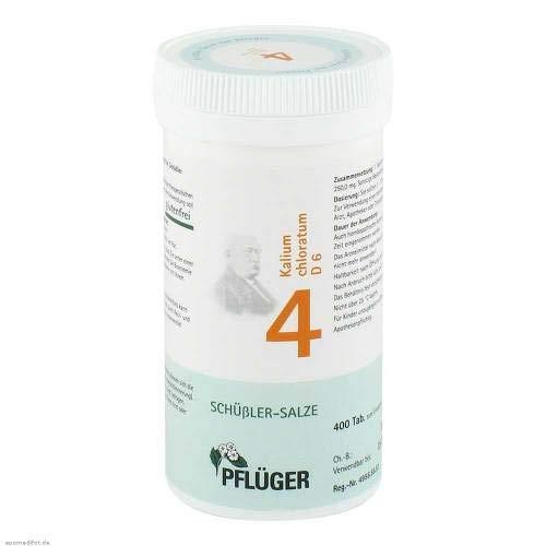 4 Salz (Pflüger Schüßler-Salz 4 Kalium chloratum D6, 400 St. Tabletten)