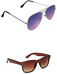 SHEOMY COMBO OF STYLISH SILVER BLUE AVIATOR AND BROWN WAYFARER SUNGLASSES WITH 2 BOX Best Online Gifts