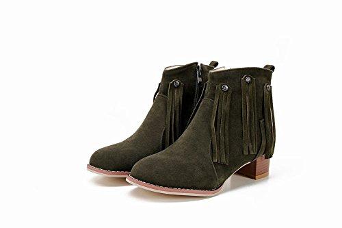 Mee Shoes Damen Quaste chunky heels kurzschaft Stiefel Dunkelgrün