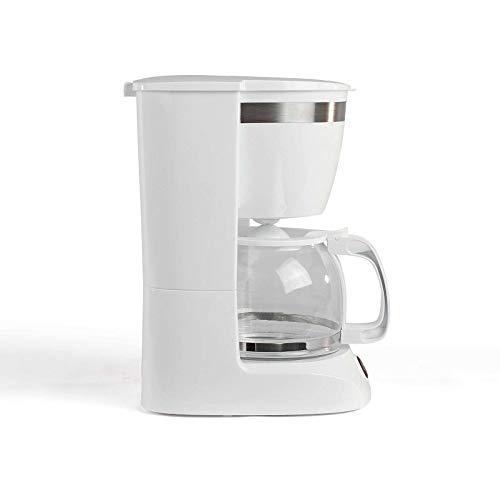 Cafetera blanca con jarra de cristal para 12 tazas, función de mantenimiento en caliente (cafetera, cucharilla de café, apagado automático, indicador de nivel de agua)