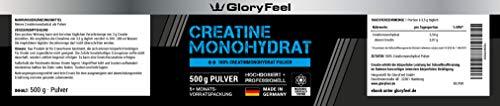Creatin Monohydrat Pulver 500g – 100% Rein und Laborgeprüft – Markenqualität Vegan und ohne Zusätze hergestellt in Deutschland von GloryFeel