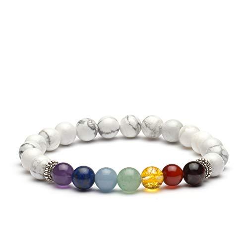 PURLAPIS ® Edles Naturstein Armband mit 7 Chakra Steinen | Erhältlich in 4 Verschiedenen Versionen: Lava, Howlith, Tigerauge oder Full Chakra | 100% ()