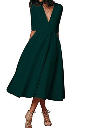 OMZIN Damen Cocktailkleid 50er Partykleid Kleid Wadenlang Faltenrock Vintage Kleid Grün L - Lange Ärmel, Eine Tasche