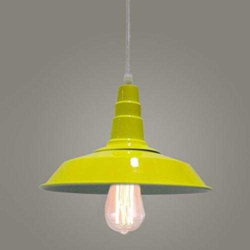 BAYCHEER Lampe Suspensions Lustre Abat-jour en Métal Style Bol Rétro Industriel Eclairage Decoratif-Jaune
