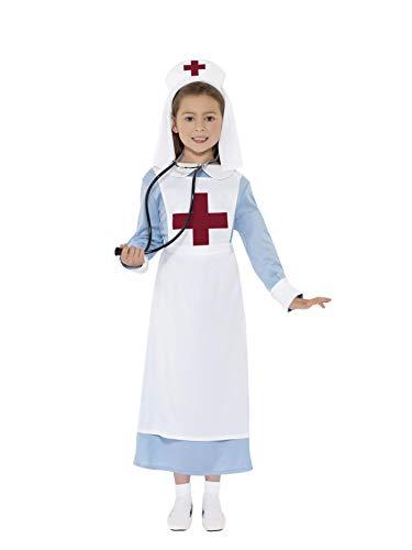 Smiffys Kinder WW1 Schwester Kostüm, Kleid, Mock Schürze und Haube, Größe: L, ()