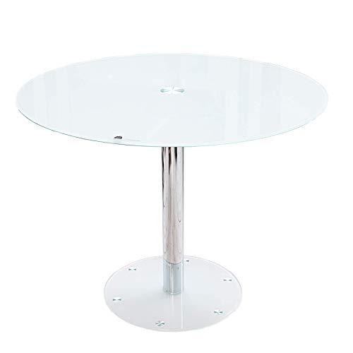Riess Ambiente Exklusiver Esstisch Bistrotisch Liquid rund Opalglas weiß mit Chromgestell