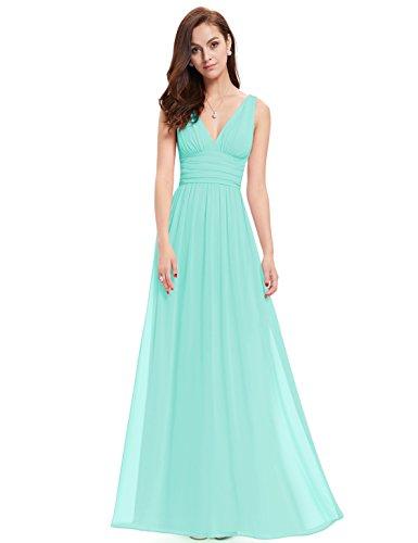 Ever Pretty Robe de Soirée V-Col Longue Mousseline 09016 Bleu-vert