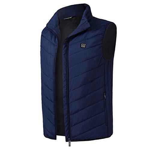 Winterheizweste, Elektro-Weste USB Thermostat Heizung Suit, Männer und Frauen Heizweste,Blue,S