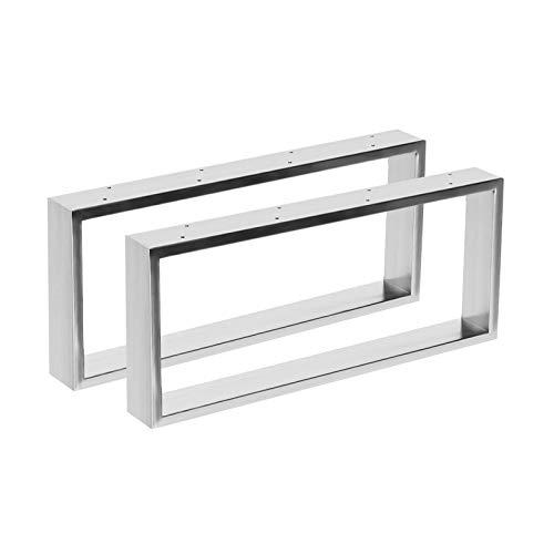 2x Tischgestell aus Edelstahl in 2 Oberflächen Hochglanz & gebürstet in 10 Varianten zur Auswahl (70x41cm, Hochglanz) -