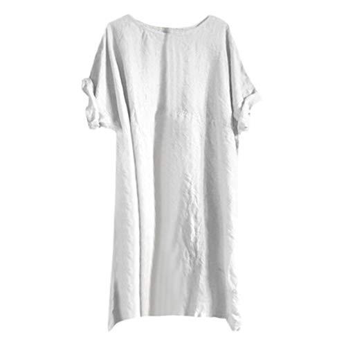 Mymyguoe Sommerkleid Leinen Kleider Damen O-Ausschnitt Strandkleider Einfarbig A-Linie Kleid Boho Knielang Kleid Partykleid Minikleider Blusenkleider