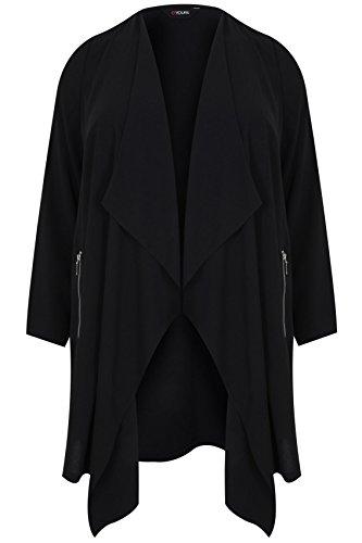 yoursclothing Plus Taille crêpe Palangre Cascade Veste pour femme Noir - Noir