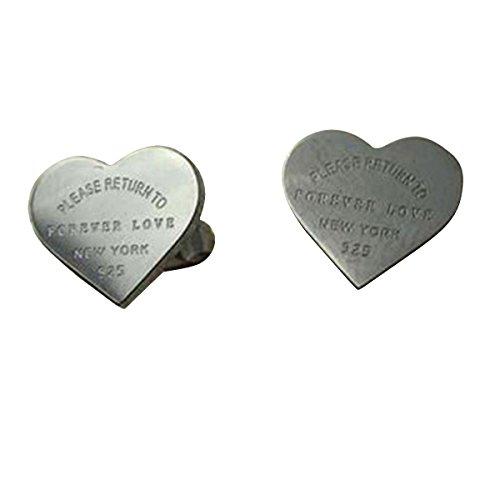 Butterme Oro bianco argento 18K placcato a forma di cuore delle signore 'Forever Love' orecchini a vite per le ragazze delle donne