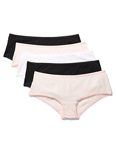 Iris & Lilly Hipster Damen Baumwolle Wellenkante 5er-Pack, Mehrfarbig Black/(Soft Pink/white), Medium