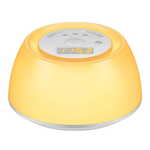 Timstore Wake-Up Light neben Lamp Wecker Sunrise Simulation, 5 natürliche Klänge, wiederaufladbar, Berührungssensor Multicolor Dimmable Night Light Umgebungslicht