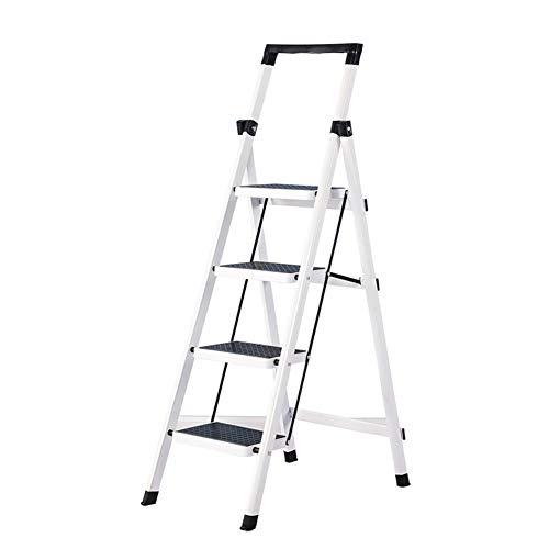 Preisvergleich Produktbild Home Folding 3 4 Steps Leiter 3 Tier Stuhl Tragbar,  Indoor DREI Vier Schritte Hocker Küche rutschfeste Schwarz Pedal Haushalt Folding Step Hocker Blumenständer JYTZ (Size : 4 Step)