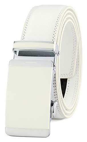 GFG Cinturón de cuero para hombres con hebilla automática 35mm Ancho-0051-110-Blanco