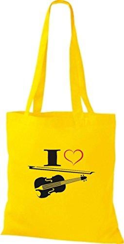 Shirtstown Stoffbeutel Musik I love Violine Bratsche Geige Gelb