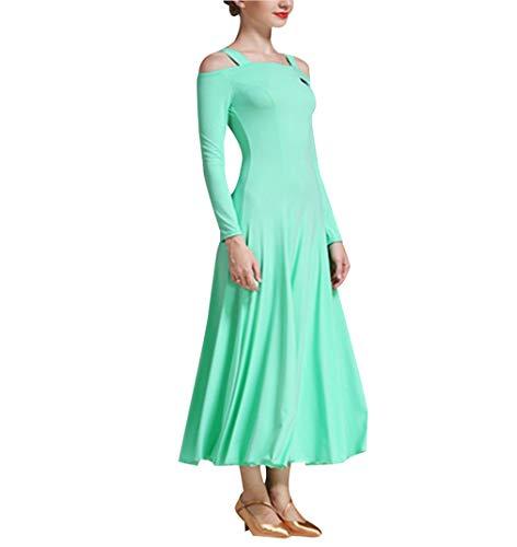 Latin Dance Rock Frauenkleidung - Kurzarm Kostüm Dame Walzer Flamenco Ballsaal Schule Kleidung Grün XXL (20 S Style Dance Kostüme)