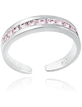 Luxuriöser Zehenring mit rosa Zirkonia Diamanten, Sterling Silber