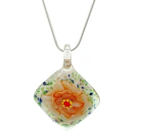 Distinctif décoratif fleur orange–Collier/pendentif en verre vénitien