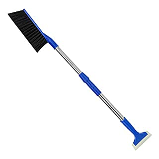 MoKo Car Snow Shovel Removal Tools, 2 in 1 Adjustable & Lightweight Snow Removal Shovel Brush Ice Scraper for Car Truck Outdoor & Home, Black + Blue