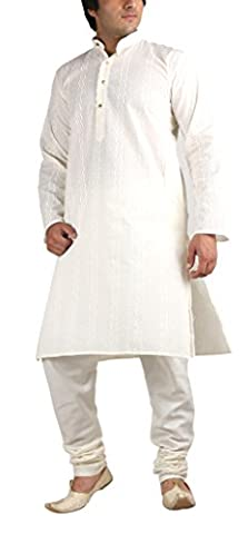 Men's Traditional Pure Cotton Beige Chikan Embroidered Kurta & Churidar Set By Royal Kurta