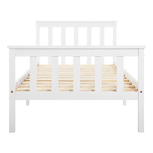 Einzelbett Holzbett aus Bettgestell mit Lattenrost Holzbett mit Kopfteil - Massivholz Kinderbett Jugendbett 90 x 200 cm Kiefer massiv Weiß lackiert Gästebett Bett Weiss