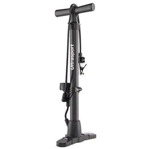 Ultrasport Luftpumpe für Fahrrad und Auto, Standpumpe mit Manometer, für gängige Autoventile und Fahrradventile Dunlop, Schrader, Presta