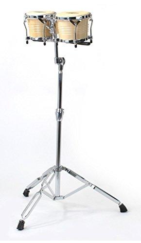 XDrum Bongo Pro Vintage Natur SET mit Ständer (6,5' Macho und 7,5' Hembra Holz Percussion Holzbongo...