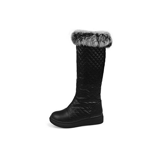 AllhqFashion Damen Weiches Material Hoch-Spitze Rein Ziehen auf Niedriger Absatz Stiefel, Schwarz, 37