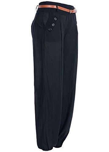 B-Ware-Violet-Fashion-Damen-Sommerhose-Haremstyle-2-pockets-Hosengrtel-Dekoknpfe-schwarz