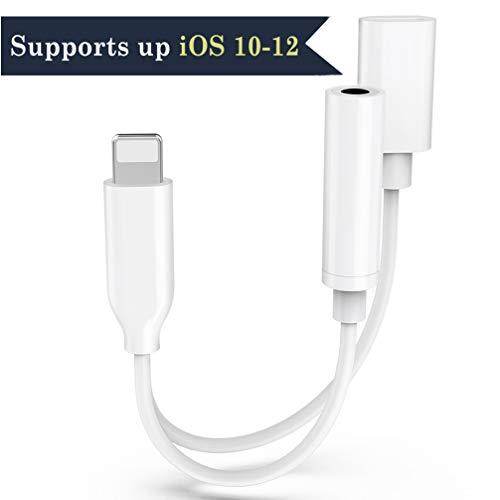 Adaptador de Conector de Auriculares para iPhone Adaptador de Auriculares a 3.5 mm Cable de extensión Conector Auxiliar para iPhone 7 / 7Plus 8 / 8Plus X/XS Soporte de Audio y Carga para iOS 10-12