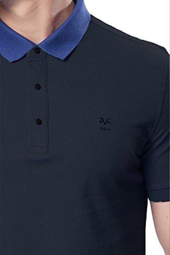 V1969 - Herren Poloshirt, Blau Kragen, 100% Baumwolle, Custom Fit Black