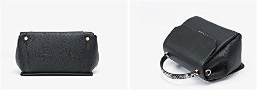 Xinmaoyuan Borse donna vera pelle Lady sacchetti spalla stampato borsa Messenger quadrato piccolo sacchetto,Nero Nero
